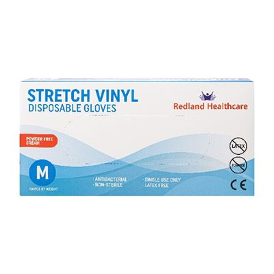 Redland Stretch Vinyl Powder Free Gloves M 1