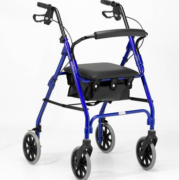 Lightweight Four-Wheel Rollator - Blue