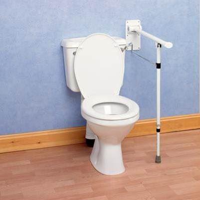 Devon Elite Folding Toilet Rail With Support Leg