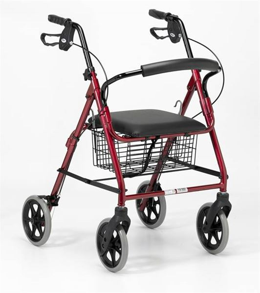 Lightweight Four-Wheel Rollator - Ruby Red