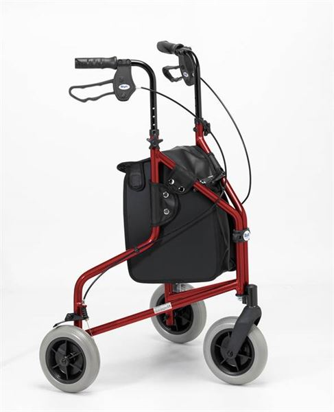 Days Lightweight Tri-Wheel Rollator - Ruby Red