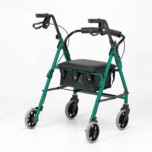 Lightweight Four-Wheel Rollator - Racing Green