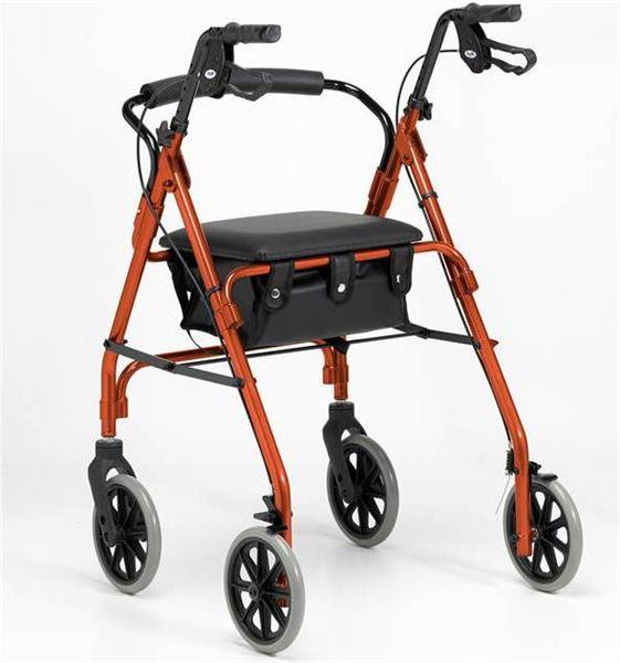 Lightweight Four-Wheel Rollator - Russett Orange